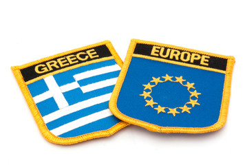 greece and europe flag badges