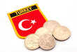turkish flag and lira coins