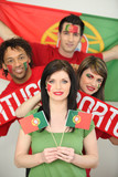 Group of friends supporting the Portuguese football team