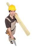 Carpenter with timber and a handsaw