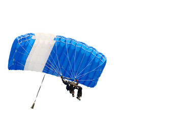 parachutist on sky isolated on white