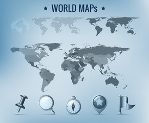 World map vector: political, dotted, solid. Navigation Icon pack