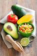 Avocado, tomato, mango salad