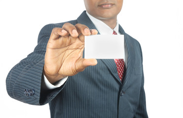 indian business man showing  blank business card