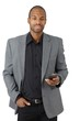 Confident businessman with cellphone