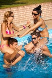Happy companionship having fun at summer in pool poster