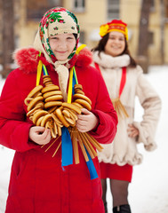 Happy girls during  Shrovetide in Russia