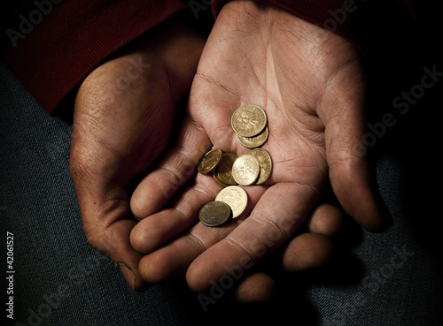poverty, beggar with some polish  coins