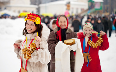 Women with pancakes during  Maslenitsa