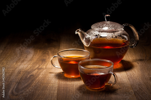 Tea Set on a Wooden Table