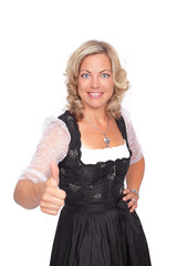 thumbs up - happy woman in bavarian tracht