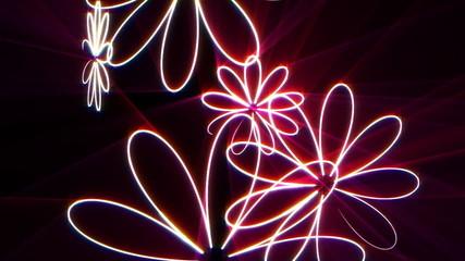 neon flowers rotating
