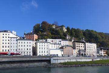 buildings along Salzbach river in Salzburg