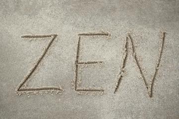"Inscription ""Zen"" on the sand"