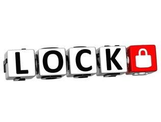 3D Lock Button Click Here Block Text
