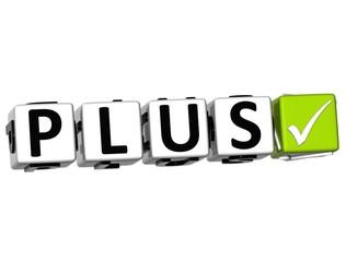3D Plus Button Click Here Block Text