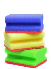 Dish washing sponges on a white background