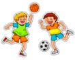 boys playing soccer and basketball