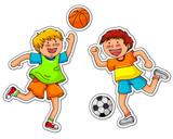 boys playing soccer and basketball