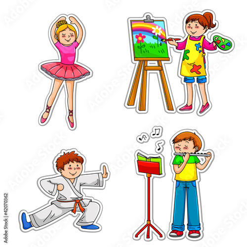 Children practicing their hobbies