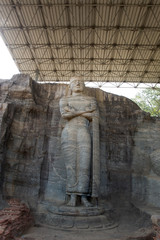 Ancient standing Buddha image, Gal Vihara, Polonnaruwa, Sri Lank