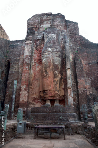The ruined standing Buddha statue with app. 8m height, Polonnaru