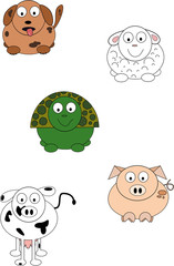 Cute cartoon animals.