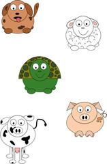 Cute cartoon animals.