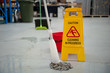 Cleaning Warehouse Caution Wet Floor
