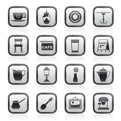 Cafe and coffeehouse icons - vector icon set