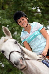 Young female jockey