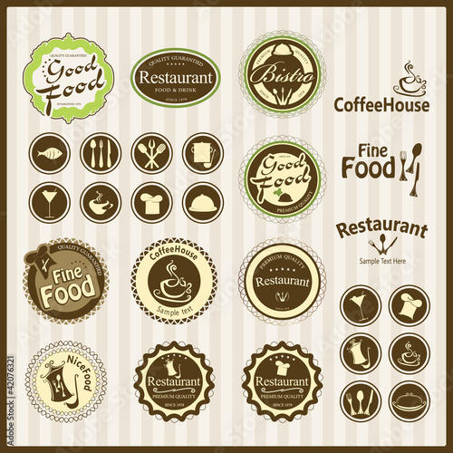 restaurant emblems and labels