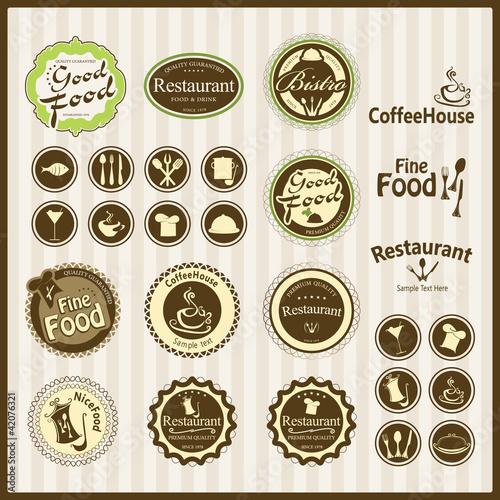 restaurant emblems and labels