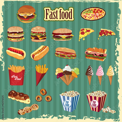 Fast Food elements and labels - 42076325