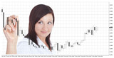 businesswoman touching forex chart over white poster