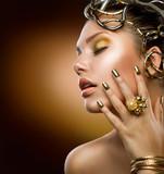 Golden Makeup. Fashion Girl Portrait