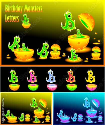 Letter  B and Birthday monster letters B
