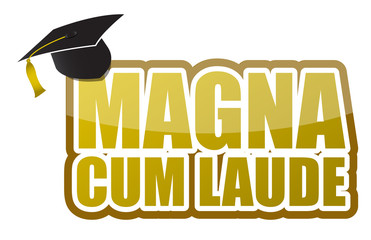 Magna cum laude graduation sign illustration design