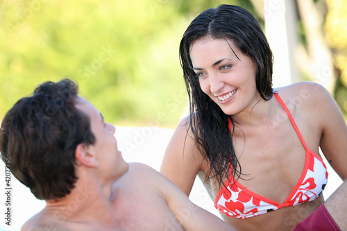 Couple with wet hair