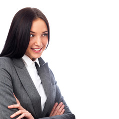 Young smiling business woman isolated