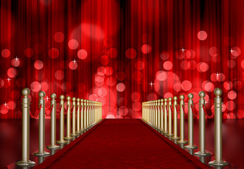 red carpet entrance with red Light Burst over curtain