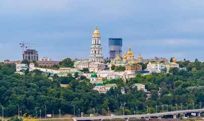 Kiev Pechersk Lavra Orthodox Monastery. View from Paton Bride
