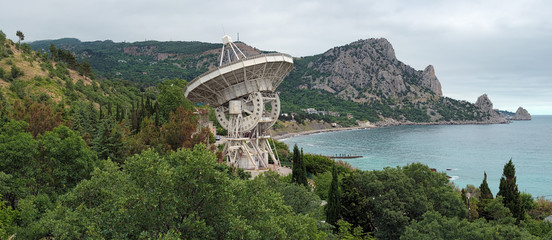 Panorama of Black Sea coast with Radiotelescope, Crimea
