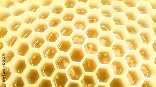 Honeycomb 3D rotating with diffusion effect.
