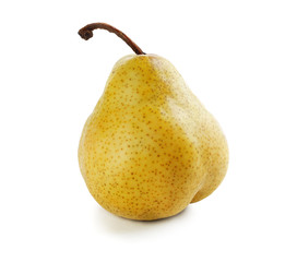 One  ripe and yellow pear on a white background