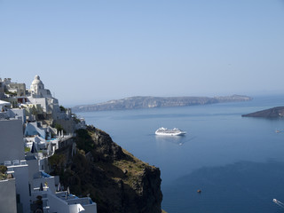 Fira the Capital town of the island of Satorini Greece