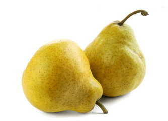 Two ripe  and juicy pears on a white background