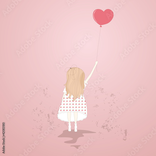 Fototapeta Vector illustration of a sweet girl with a balloon
