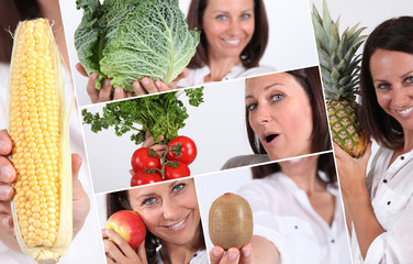 shots of beaming brunette with fruits and vegetables