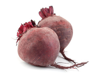 Two of beet root on a white background